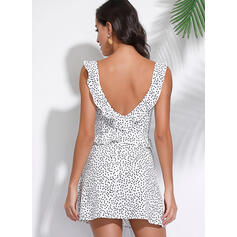 PolkaDot/Backless Sleeveless A-line Above Knee Casual/Vacation Dresses