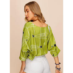 Animal Print Round Neck 1/2 Sleeves Casual Blouses