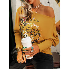 Print Leopard Heart Letter One Shoulder Long Sleeves Casual Knit Blouses