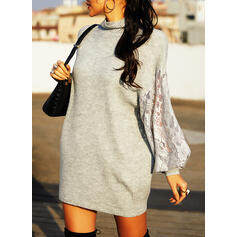 Solid Lace Turtleneck Casual Sweater Dress