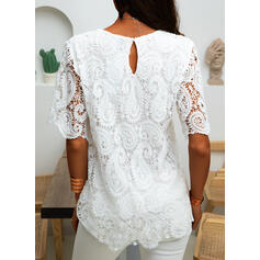 Solid Lace Round Neck Short Sleeves Casual Elegant Blouses