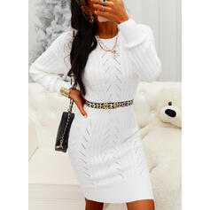 Solid Chunky knit Round Neck Casual Long Tight Sweater Dress