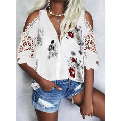Print Floral Lace Cold Shoulder 1/2 Sleeves Button Up Casual Shirt Blouses
