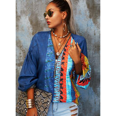 Print Color Block V-Neck 3/4 Sleeves Casual Blouses