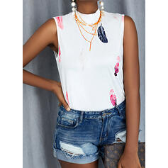 Print Feather Stand collar Sleeveless Tank Tops