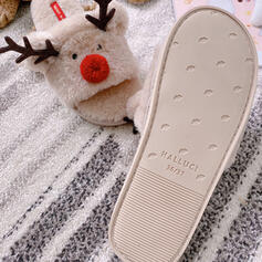 Women's Suede Flat Heel Flats Peep Toe Slippers With Animal Print Faux-Fur Splice Color shoes
