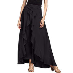Polyester Plain Maxi A-Line Skirts