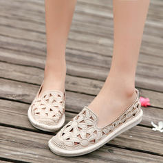 Women's PU Flat Heel Flats With Hollow-out shoes