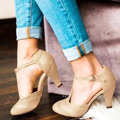 Women's PU Cone Heel Pumps Square Toe With Hollow-out shoes
