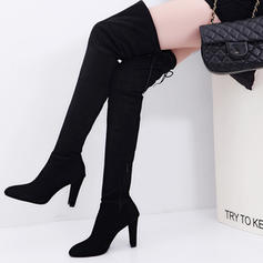 Women's Suede Chunky Heel Boots Over The Knee Boots With Lace-up shoes