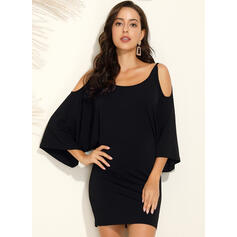 Solid Long Sleeves/Batwing Sleeves/Cold Shoulder Sleeve Sheath Above Knee Casual Dresses