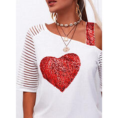 Sequins Heart One-Shoulder Short Sleeves Casual Blouses