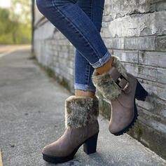 Women's PU Chunky Heel Boots With Buckle Faux-Fur shoes