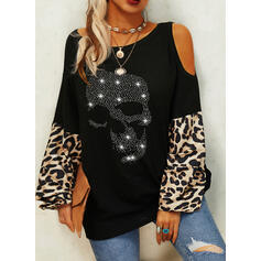 Sequins Leopard Cold Shoulder Long Sleeves Casual Knit Blouses