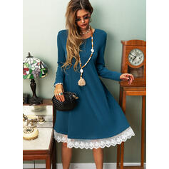Lace/Solid Long Sleeves Shift Knee Length Casual/Vacation T-shirt Dresses