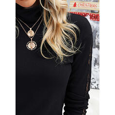 Solid Lace High Neck Long Sleeves Elegant Blouses