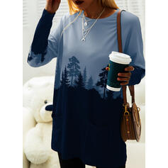 Print Color Block Forest Round Neck Long Sleeves Sweatshirt