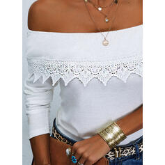 Solid Lace Off the Shoulder Long Sleeves Raglan Sleeve Casual Blouses