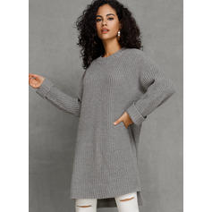 Solid Chunky knit Round Neck Long Loose Sweater Dress