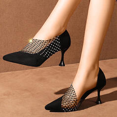 Women's PU Stiletto Heel Pumps Pointed Toe With Rhinestone shoes