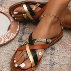 Women's PU Flat Heel Sandals Flats Flip-Flops With Animal Print Hollow-out Splice Color shoes