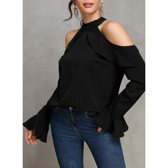Solid Cold Shoulder Flare Sleeve Long Sleeves Casual Knit Blouses