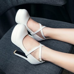 Women's Leatherette Chunky Heel Pumps Platform Closed Toe With Lace-up shoes