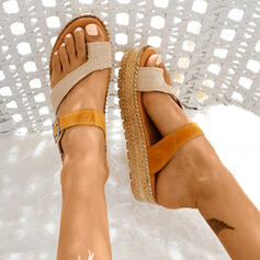 Women's Leatherette Flat Heel Sandals With Split Joint shoes