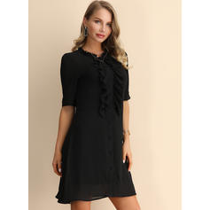 Solid 1/2 Sleeves Shift Above Knee Little Black/Party Dresses