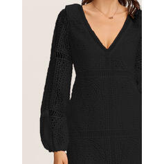 Lace/Solid Long Sleeves Shift Knee Length Little Black/Vacation Tunic Dresses