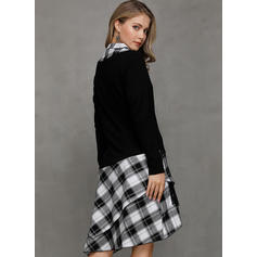 Plaid Long Sleeves A-line Asymmetrical Casual Dresses