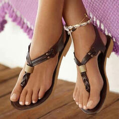 Leatherette Flat Heel Sandals With Others shoes