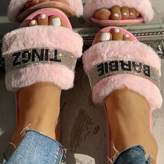 Women's PVC Flat Heel Slippers With Rhinestone Faux-Fur shoes