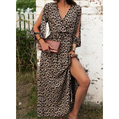 Leopard Long Sleeves A-line Skater Sexy/Vacation Maxi Dresses