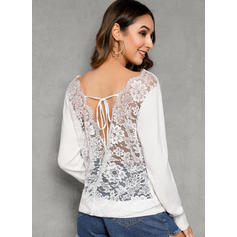 Solid Lace Round Neck Casual Tight Sexy Sweaters