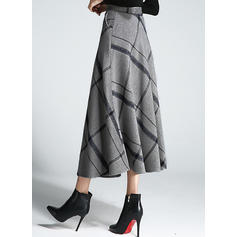 Woollen Plaid Mid-Calf Flared Skirts A-Line Skirts