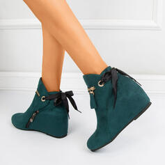 Women's Suede Wedge Heel Ankle Boots Round Toe With Bowknot Solid Color shoes