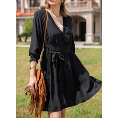 Lace/Solid 3/4 Sleeves A-line Above Knee Little Black/Casual/Vacation Skater Dresses