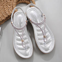 Women's Leatherette Flat Heel Sandals Flats Slingbacks Slippers With Rhinestone shoes