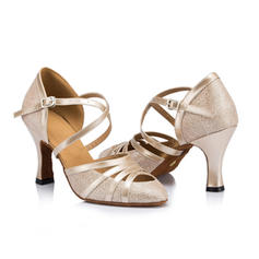 Women's Ballroom Heels Pumps Leatherette With Ankle Strap Ballroom