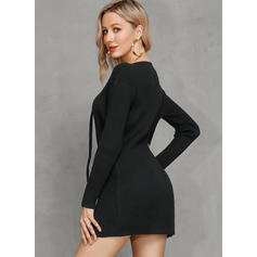 Solid V-Neck Tight Sweater Dress