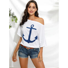 Print Off the Shoulder 1/2 Sleeves Casual T-shirts