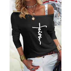 Print Sequins Letter One Shoulder Long Sleeves Casual Blouses