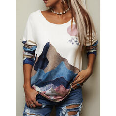 Forest Print Round Neck Long Sleeves T-shirts
