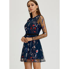 Embroidery Long Sleeves A-line Above Knee Casual/Elegant Dresses