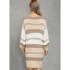 Color Block Cable-knit Chunky knit V-Neck Casual Long Sweater Dress