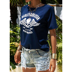 Print One-Shoulder Short Sleeves Casual T-shirts