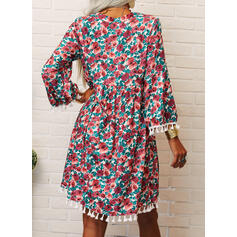 Print/Tassel 3/4 Sleeves/Flare Sleeves Shift Above Knee Casual/Vacation Tunic Dresses