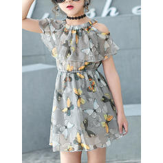 Girls Round Neck Floral Ruffles Party Dress