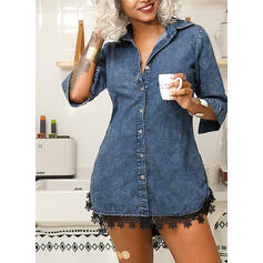 Lace/Solid 1/2 Sleeves Sheath Above Knee Little Black/Casual/Denim Shirt Dresses